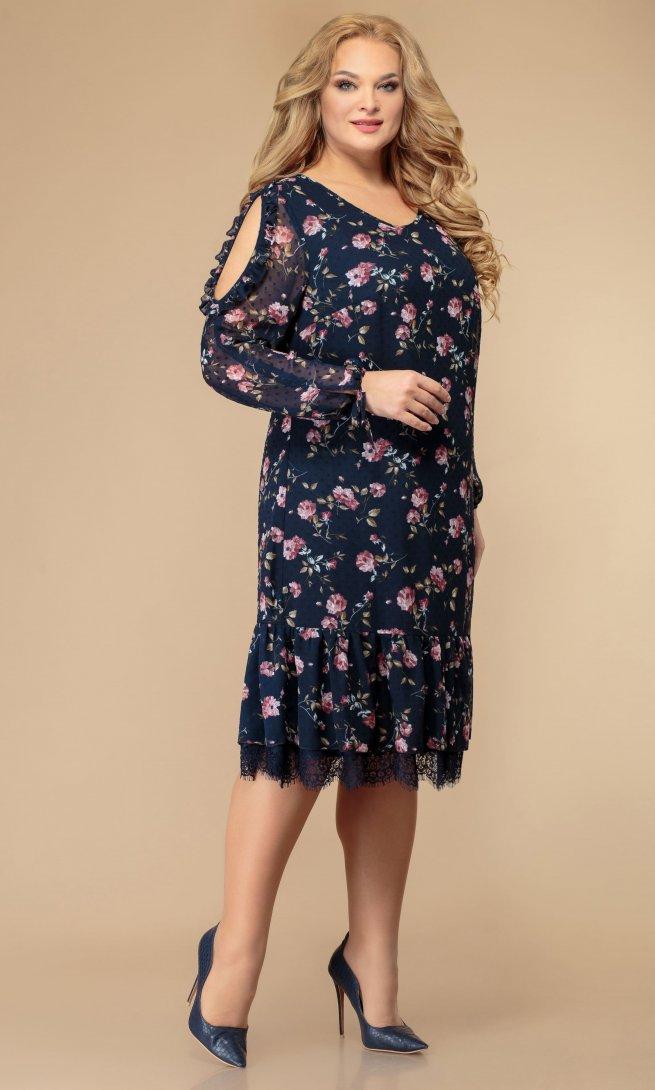 Платье Svetlana style 1177 синий/флок