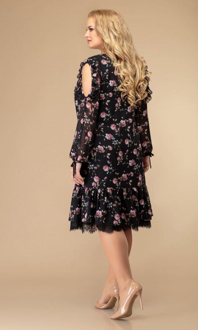 Платье Svetlana style 1177 черный/флок