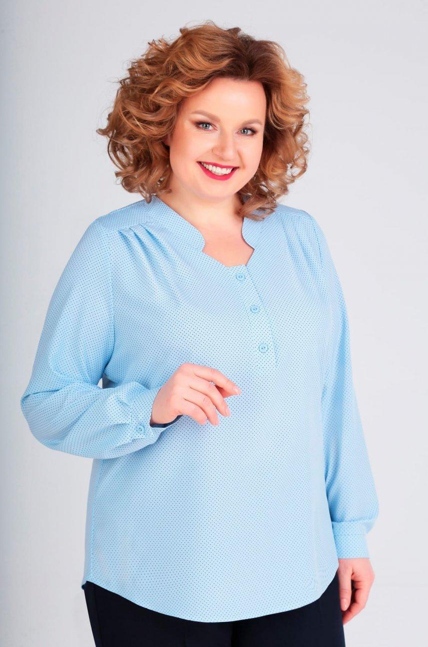 Блуза Асолия 995 голубой/точки