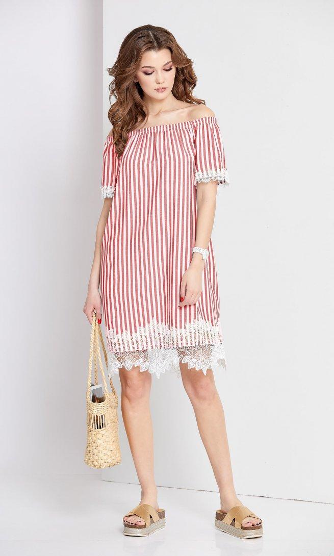 Платье Eola 1662 красная полоска