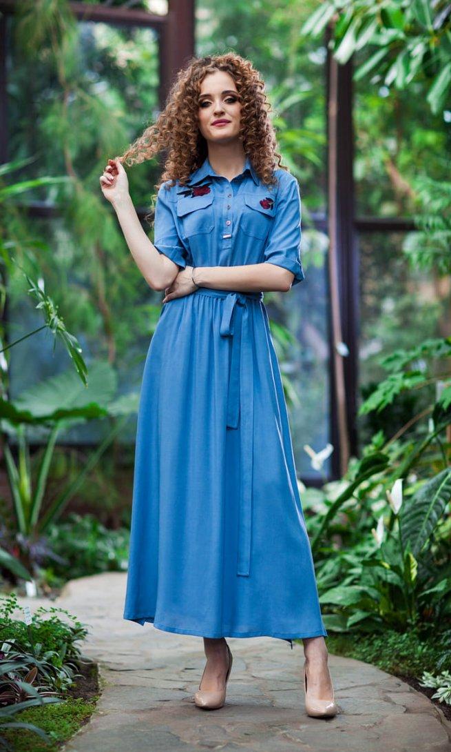 Платье EuroModa 204 голубое