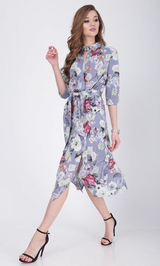 Платье Ladis Line 1048 серо-голубое