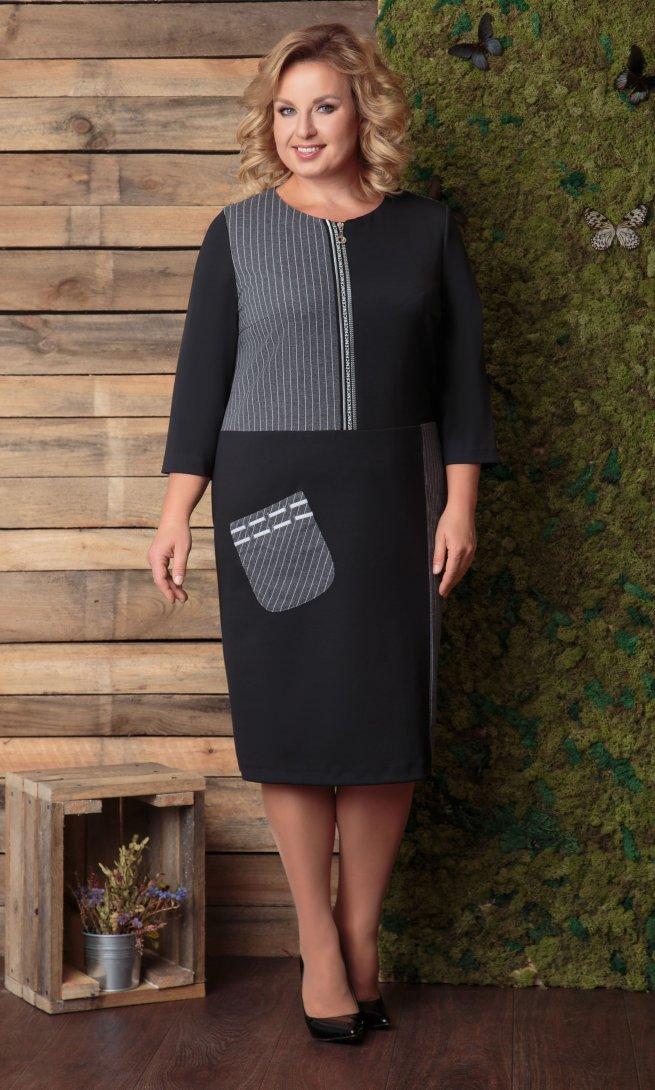 Платье Ladis Line 1049 серо-черный