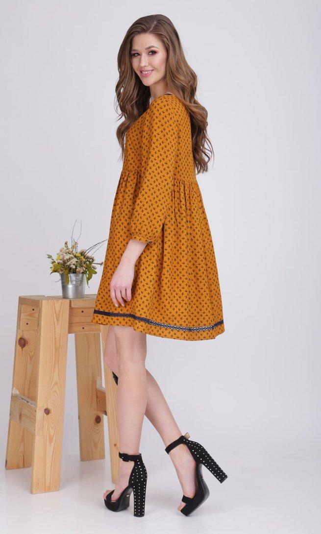 Платье Ladis Line 1069 горчица