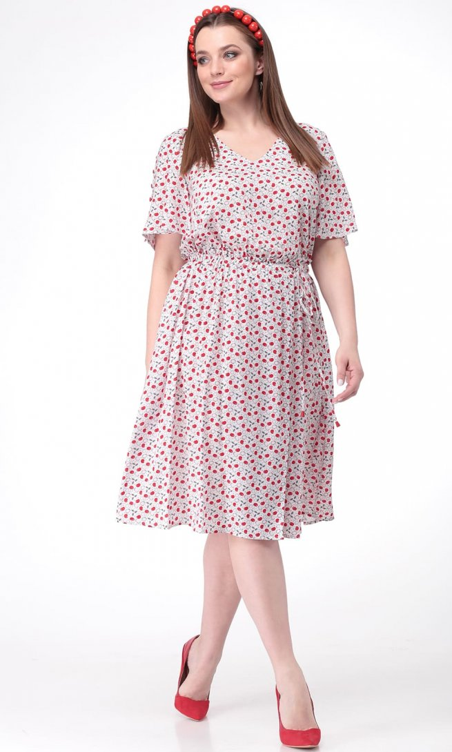 Платье Ladis Line 1086 бело-красное