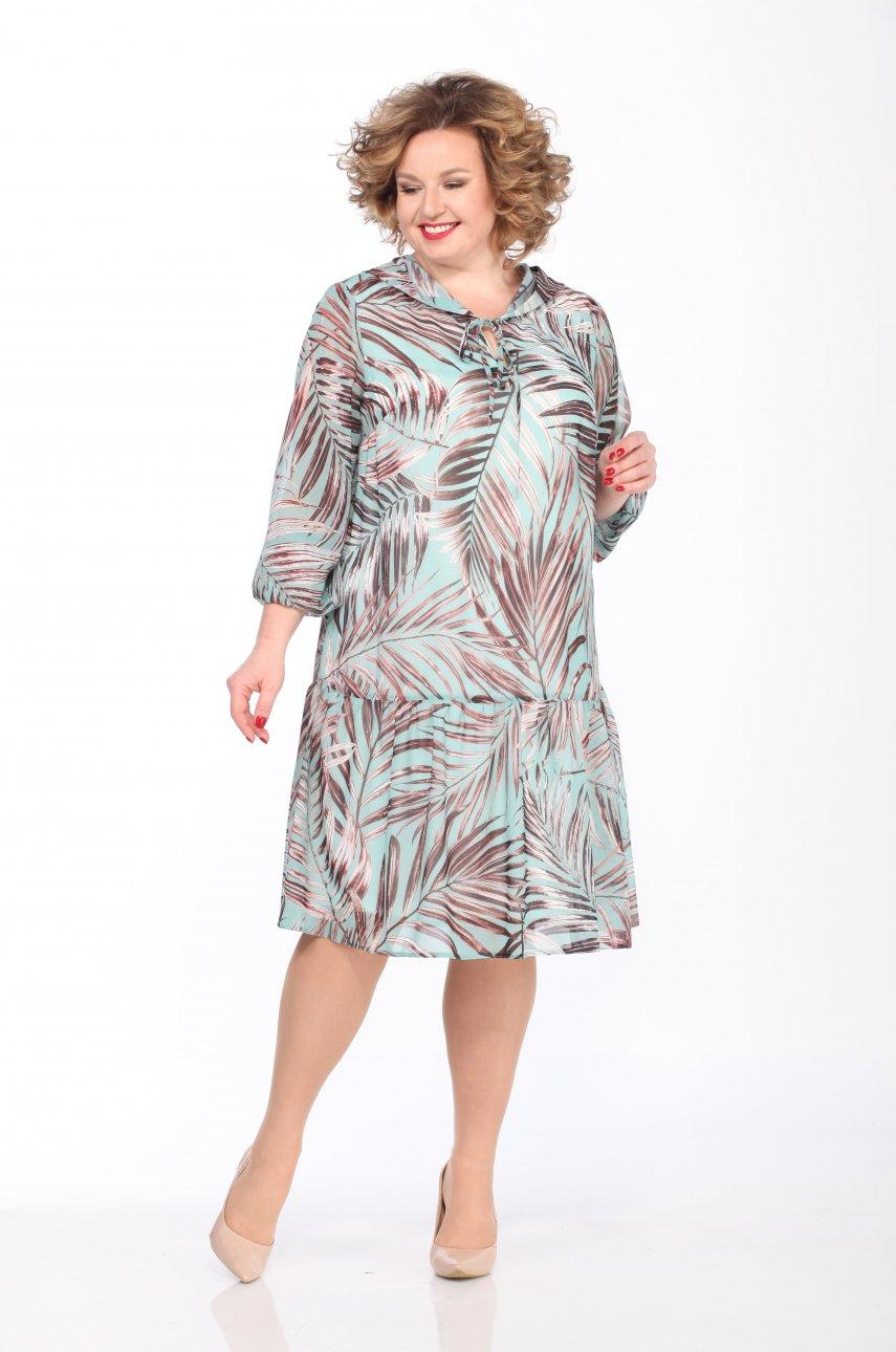 Платье Lady Secret 3622/2 бирюза/листья