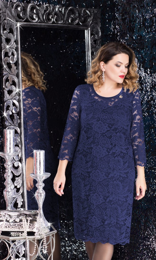 Платье LeNata 11607 темно-синее