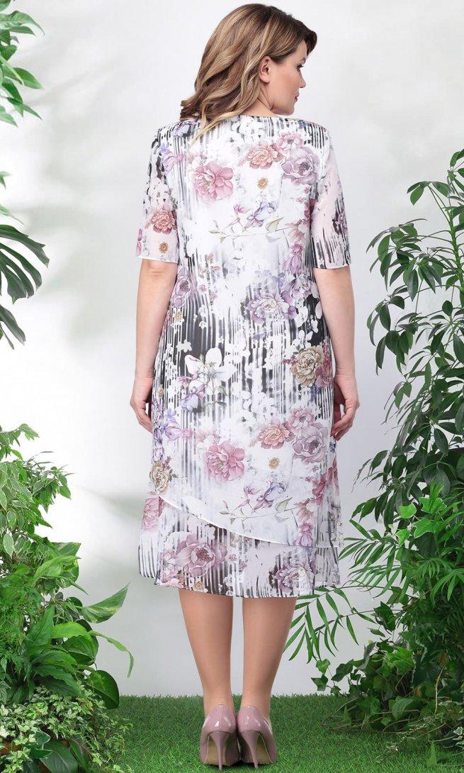 Платье LeNata 11746 сиреневое