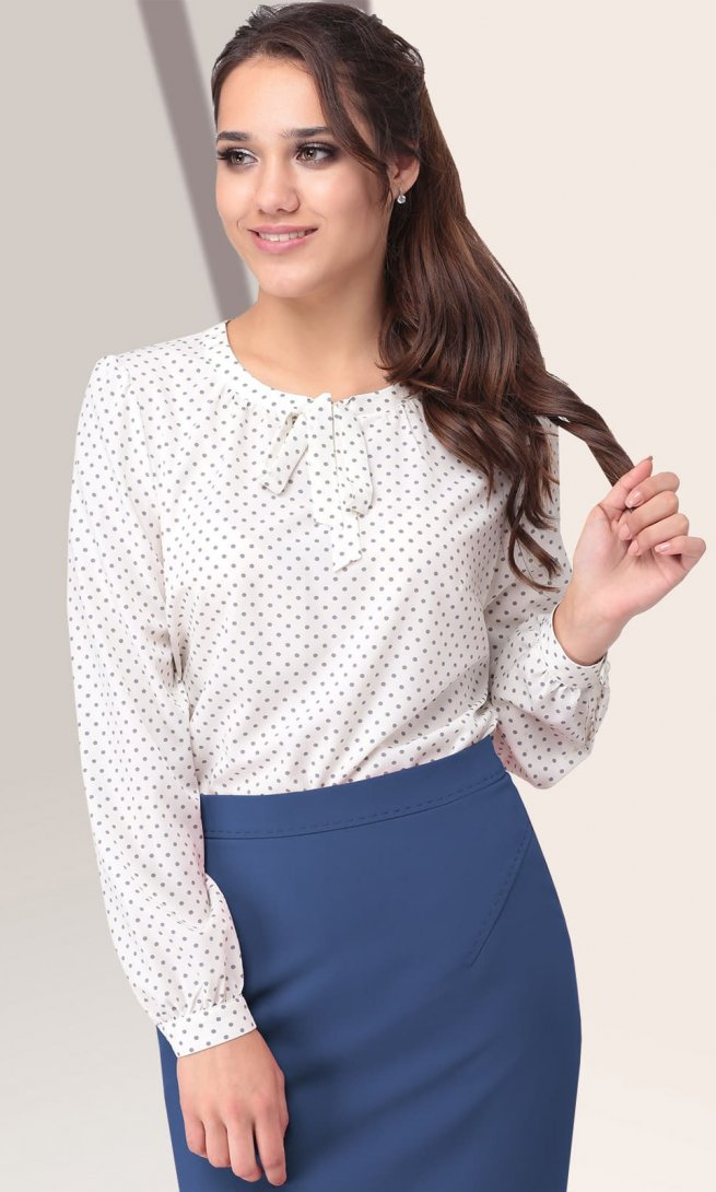Блуза LeNata 11798 белая/ серый горошек