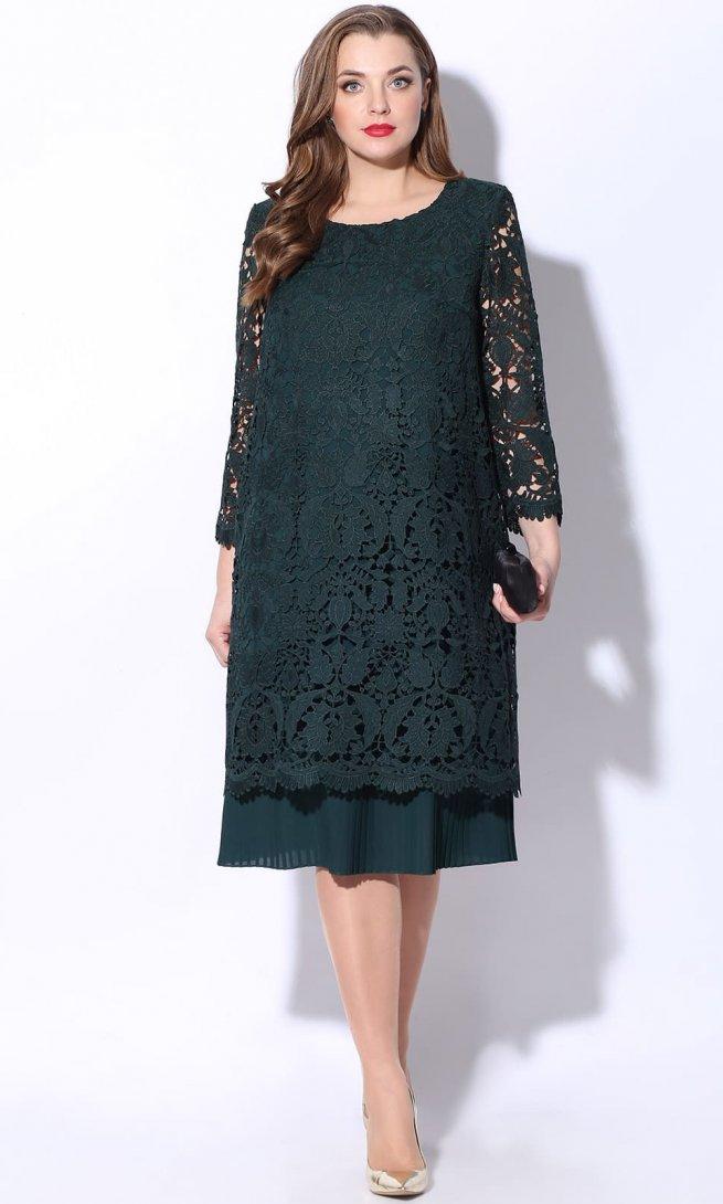 Платье LeNata 11048 зеленое