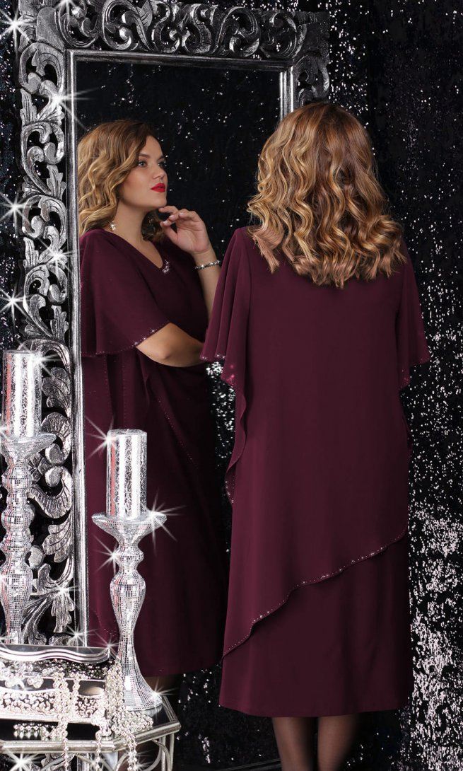 Платье LeNata 11059 спелая вишня