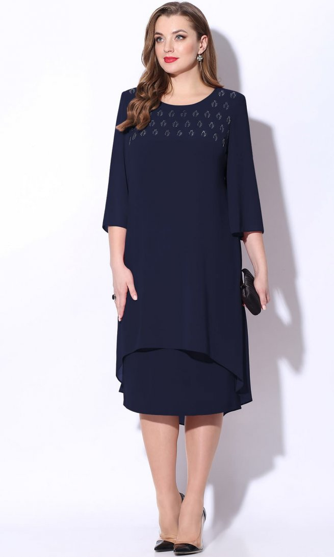 Платье LeNata 11068 темно-синее