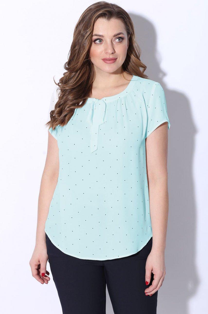 Блуза LeNata 11856 зеленая в горох