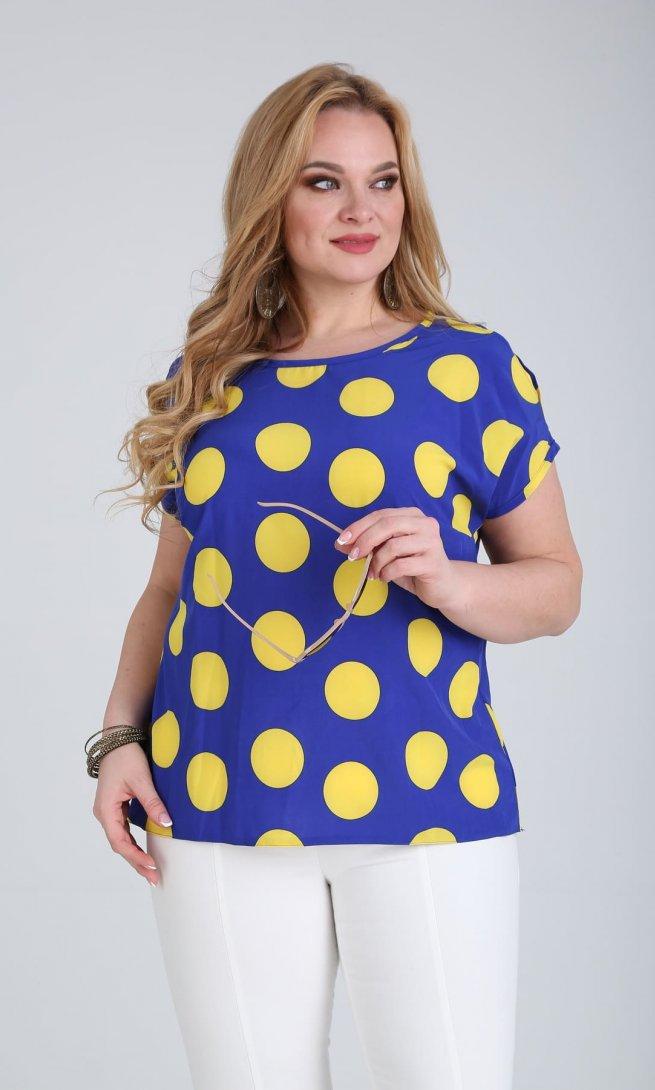 Блуза Sovita 243 синий/горох