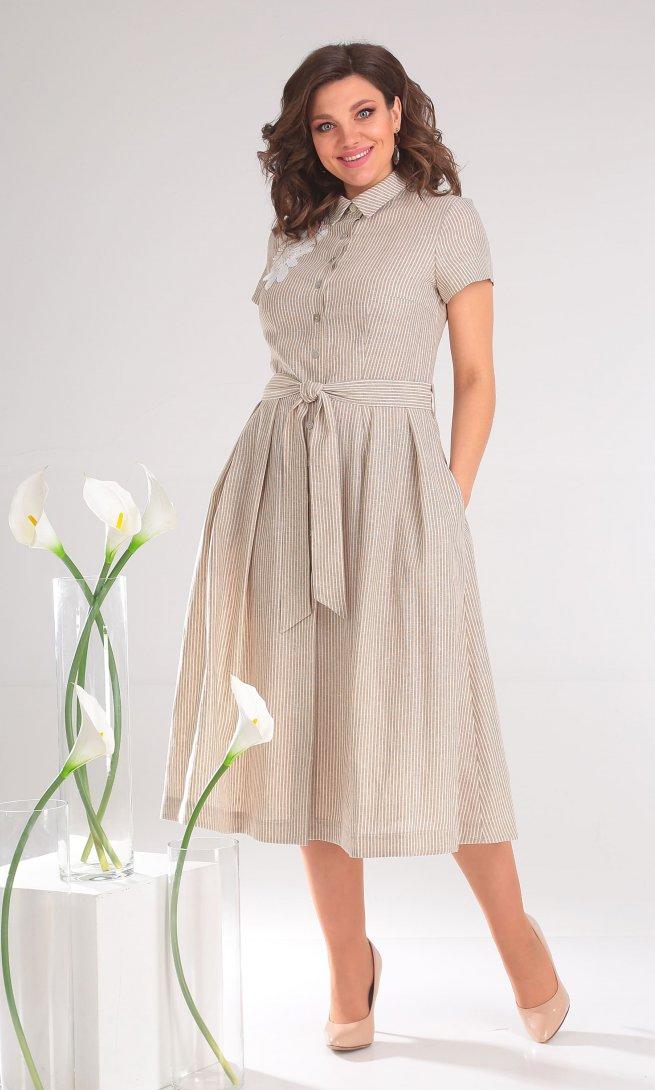 Платье Мода Юрс 2333 бежевые полоски