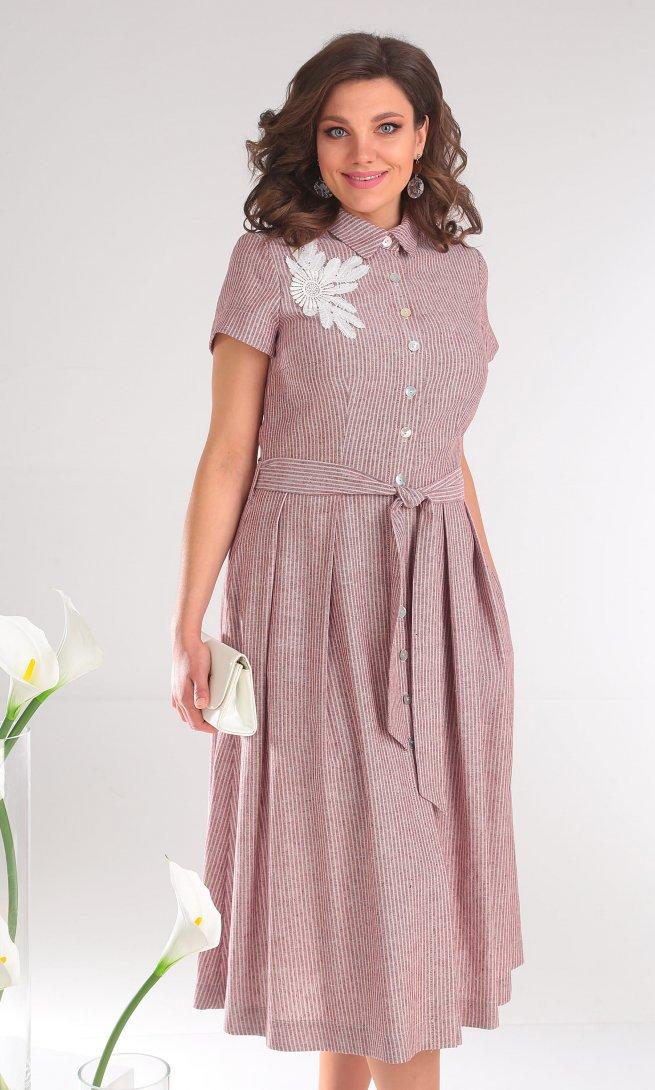 Платье Мода Юрс 2333 розовые полоски