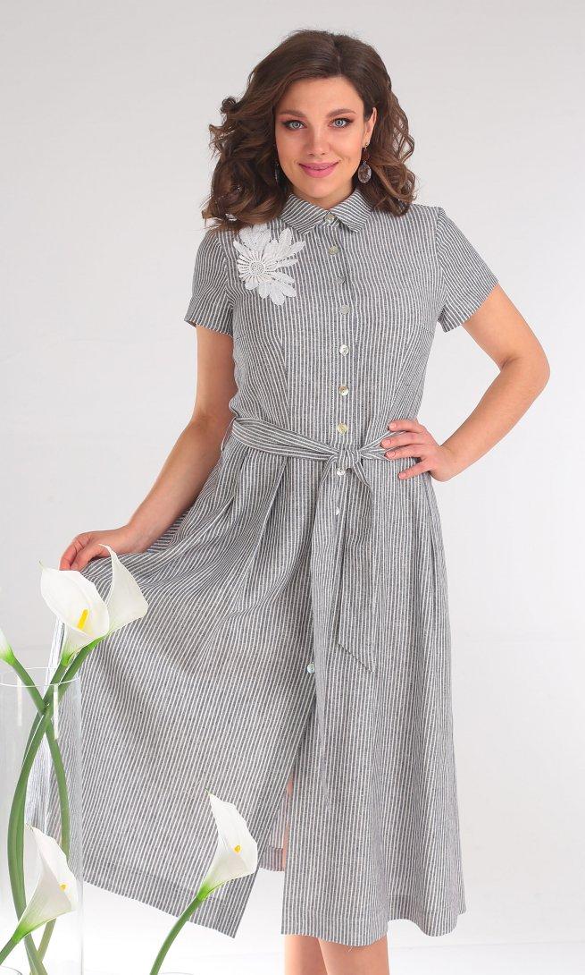 Платье Мода Юрс 2333 серые полоски