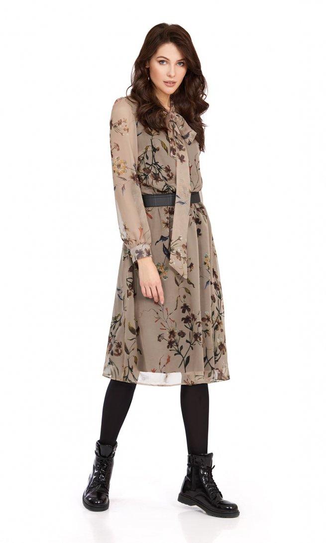Платье Pirs 880 беж/цветы