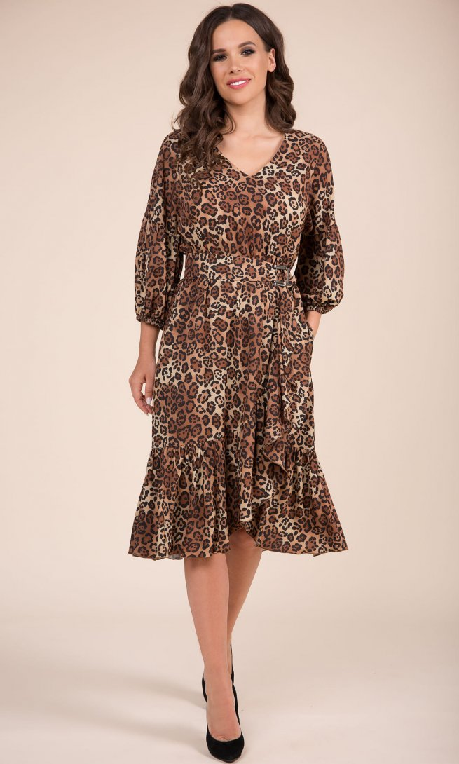 Платье Teffi Style 1416 принт ягуар1