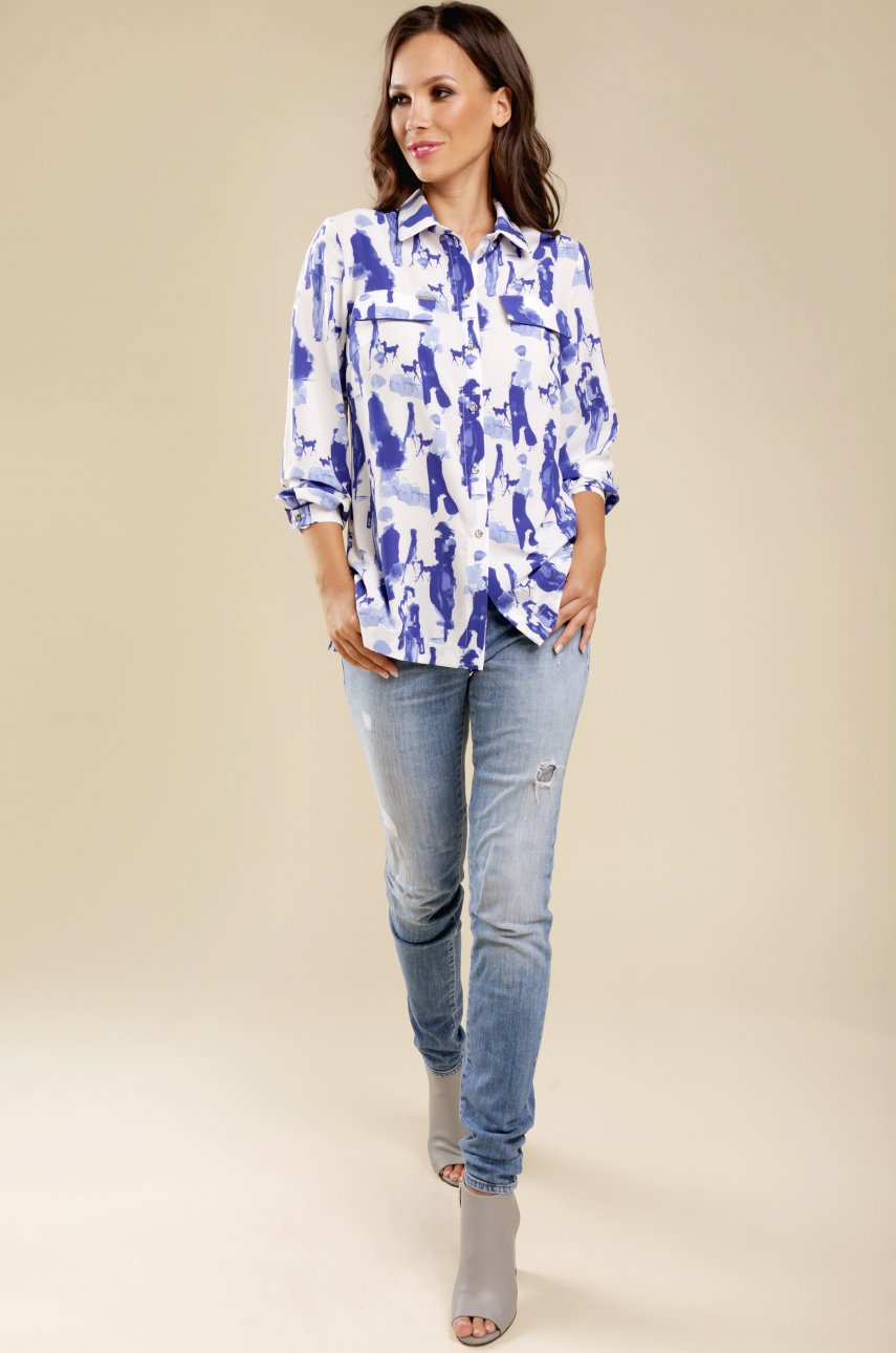 Блуза Teffi Style 1426 бело-синяя1